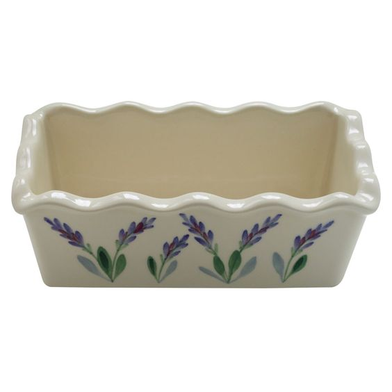 Large 8 Inch Ceramic Deep Bread Loaf Baking Pan with Scalloped Edges and Decorative Hand Painted Lavender Design