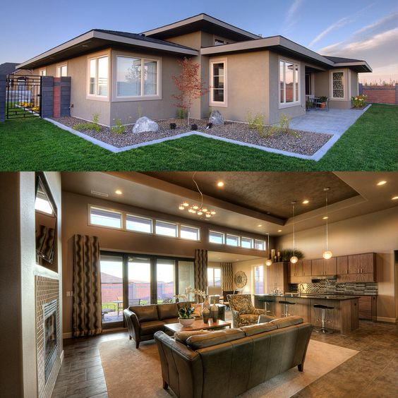 House plans ranch house plans and style on pinterest for Prairie style ranch