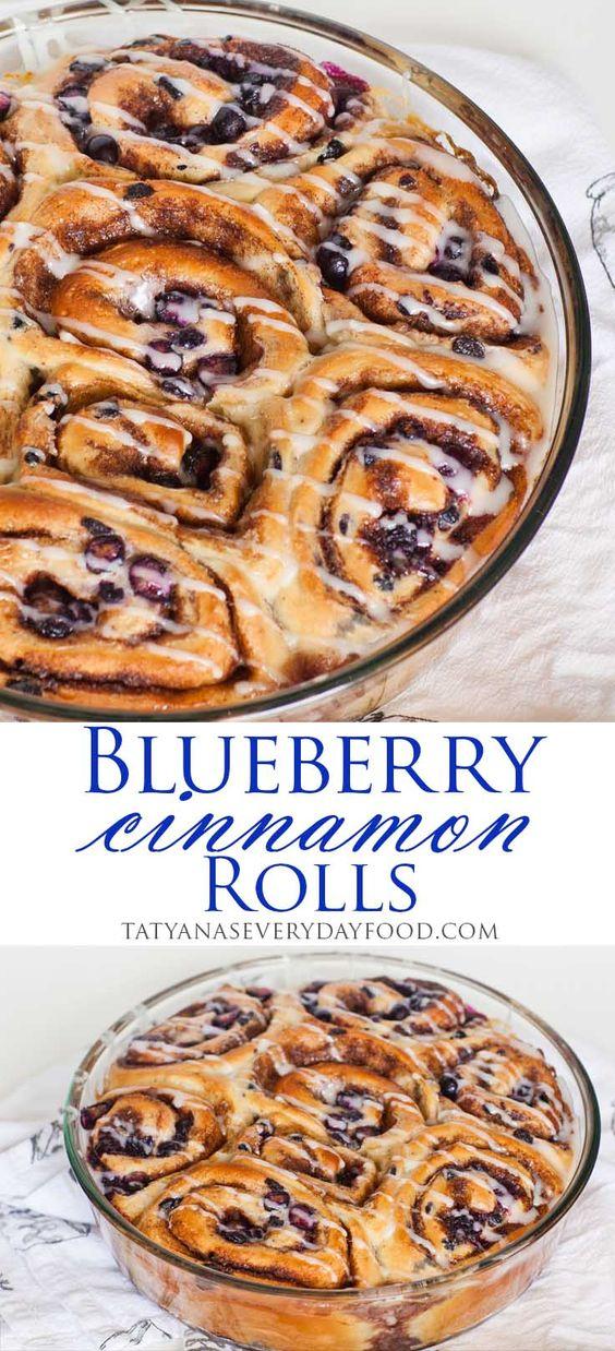 Double Blueberry Cinnamon Rolls - best cinnamon roll recipe! Video recipe by Tatyana's Everyday Food