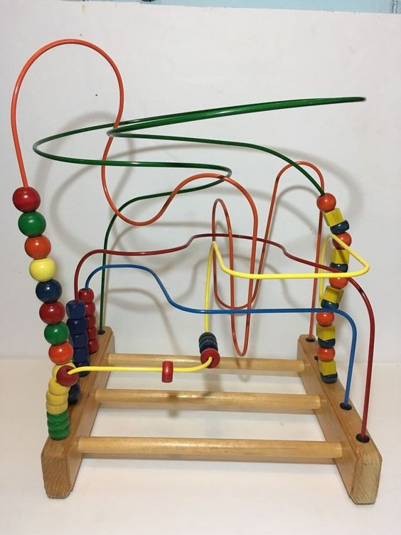 Vintage Anatex Wood Bead Maze Roller Coaster Activity Toy Large Sensory Baby   eBay