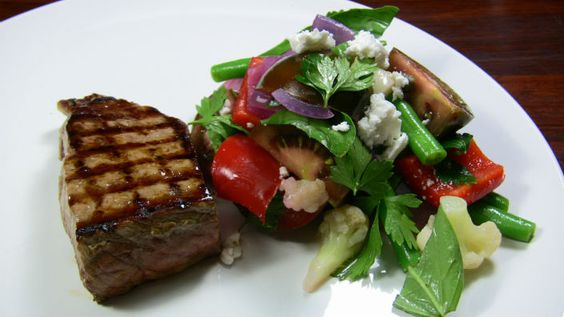 BBQ Beef with Fresh Caponata Salad - juicy steaks with fresh sweet and sour salad. Once you try it, you'll want more