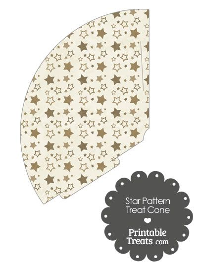 Vintage Brown Star Pattern Treat Cone from PrintableTreats.com