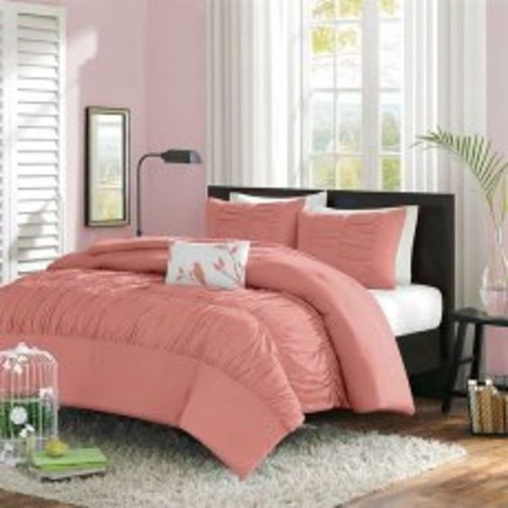 Denise 6-pieces Coral Peach Soft Pintucked Comforter Set , Queen