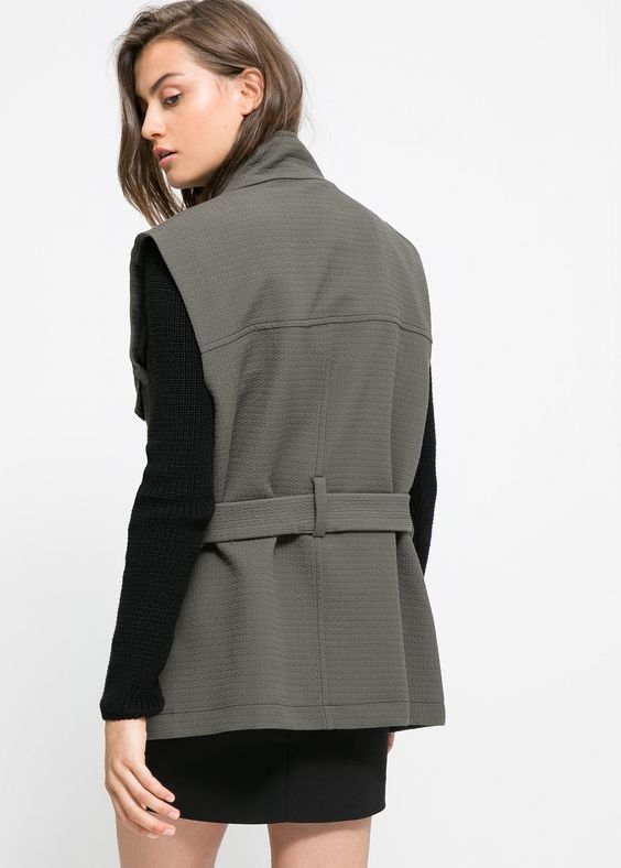 Military textured gilet