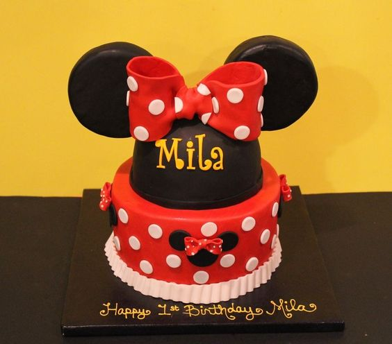 Minnie cake - would be cute in bright pink instead of red