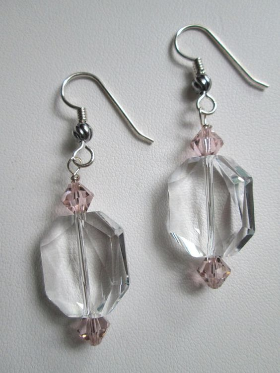 Swarovski Crystal Earrings Pink and Clear by DeaCreo on Etsy, $30.00