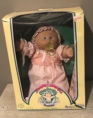 Cabbage Patch Preemie Girl Doll 1985 Pacifier Birth Certificate In Box Vintage Retro Igrushki