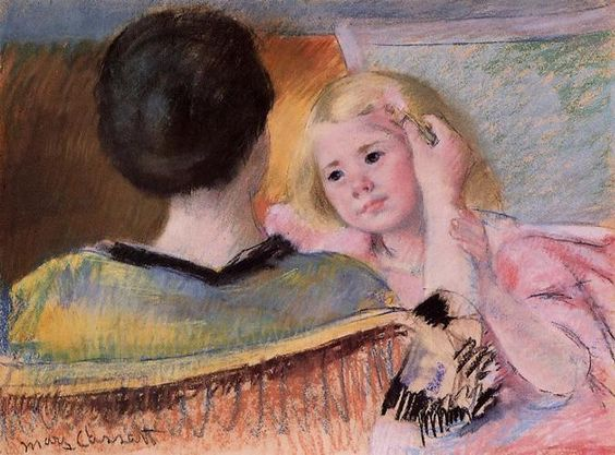 Mother combing Sara's hair by Mary Cassatt