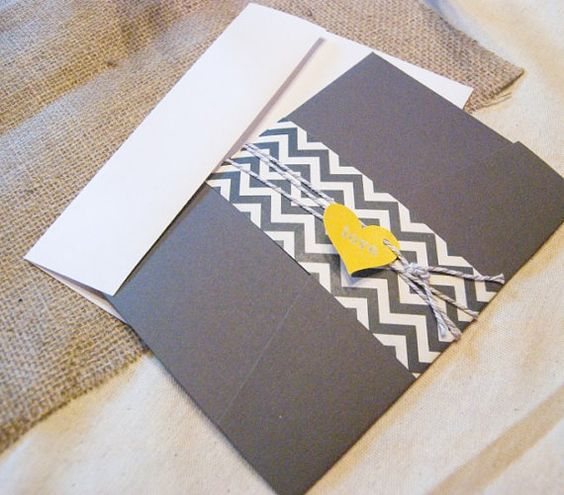 chevron wedding invitation yellow wedding by parcelpostwedding, $30.00