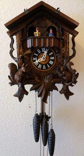 Vintage Black Forest Hand Carved German Cuckoo Clock w Dancers & Music--WORKS