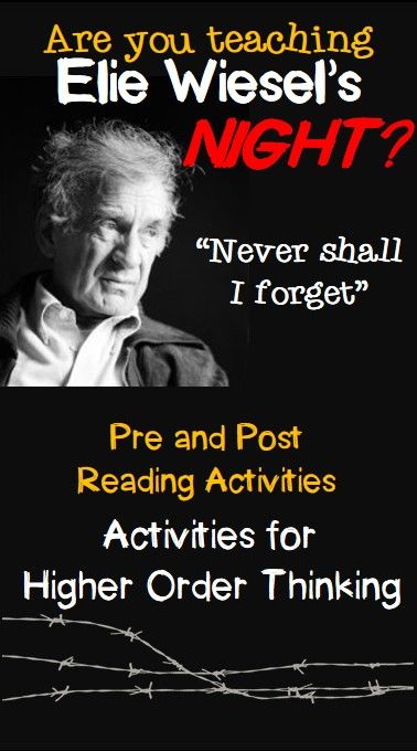 A bundle of activities for teaching Night.  Put the responsibility for learning in your students' hands as they make meaning of WIesel's powerful work.
