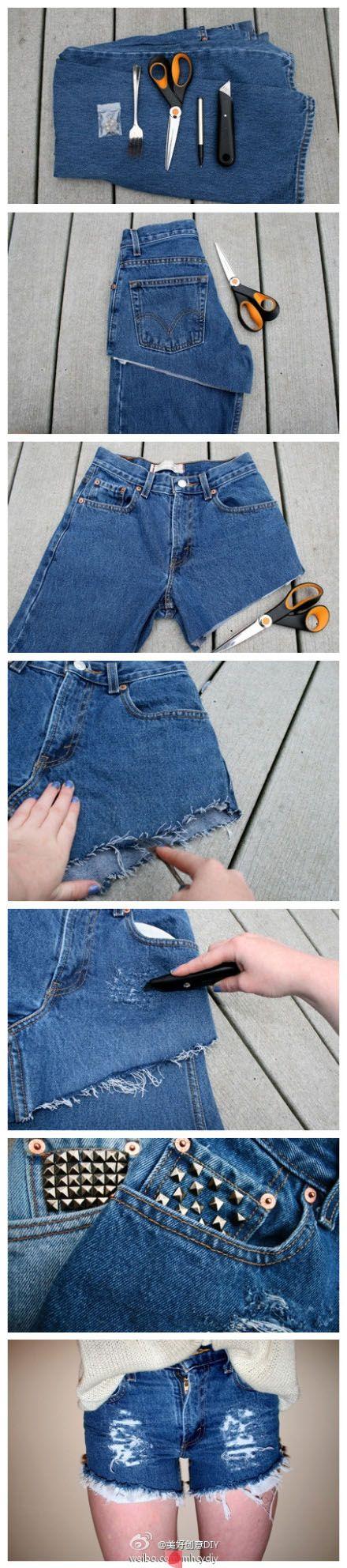 Jeans to shorts DIY. Lovebthe rough denim effect!