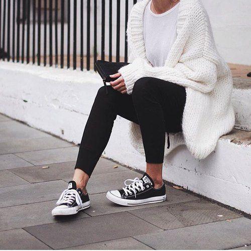 white knit + black converse