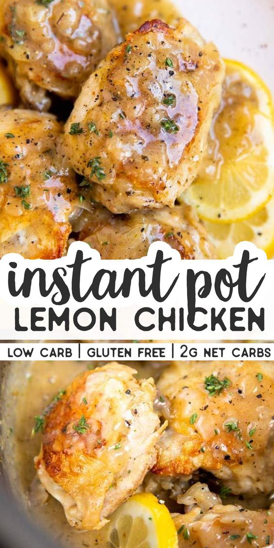 Make this Instant Pot Lemon Chicken for dinner tonight – everyone will love it. Even better: It's SO quick and easy to make – and you can even cook the chicken from frozen! This recipe is Trim Healthy Mama friendly (THM S), low carb, Keto friendly and gluten free. It only has 2g of net carbs per serving! | #instantpot #lowcarb #keto #lowcarbdinner #ketodinner #ketorecipes #lowcarbrecipes #thm #trimhealthymama #thms #chicken #chickenrecipes #instantpotrecipes #dinner #easydinner #healthydinner
