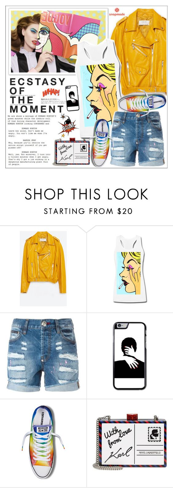 """""""Look # 607 (Snapmade #7)"""" by lookat ❤ liked on Polyvore featuring Zara, Hedi Slimane, Philipp Plein, Converse and Karl Lagerfeld"""