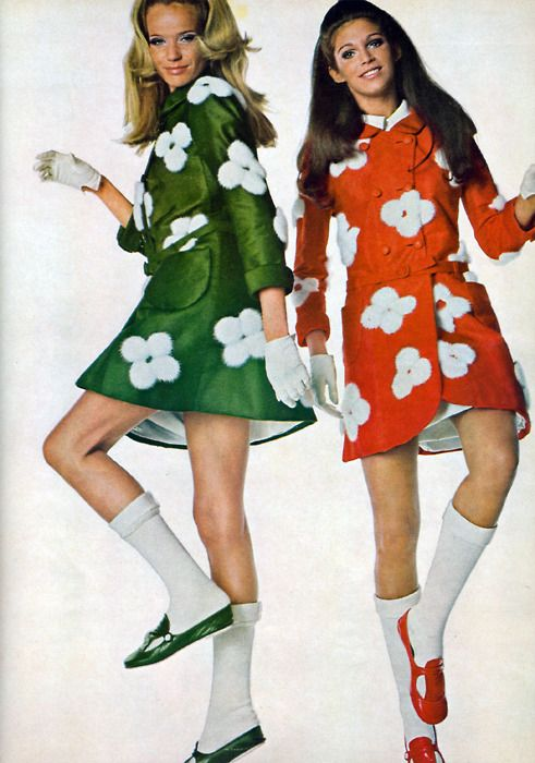 White Socks-  VERUSCHKA AND ANN TURKEL SHOWCASE THE TIMELESS APPEAL OF COURREGES 1968 IN VOGUE!