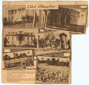 Newspaper clippings regarding biography of R.E.B. Baylor, history of Baylor University, and memorial to R.E.B. Baylor, ca. 1900-1920
