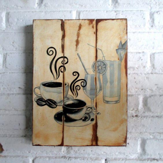 Kopi dan Minuman Lain.  Spray stencil on wood. 30 x 40 x 2 cm  #woodsign #homedecoration #homeandliving #vintage #alldecos