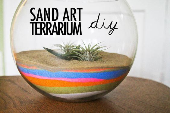 This colorful terrarium will definitely bring a splash to my garden dorm room. I can style it a couple of different wasy depending on the materials I use to make it! Completely adorable.