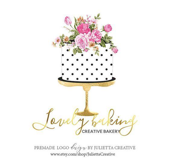cake decor logo design Bakerylogo, Watercolor cake logo design, Pre-made logo design