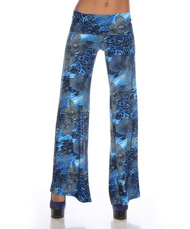 Take a look at this Blue Floral Palazzo Pants by White Mark on #zulily today! Black and blue has always been a fav of mine.