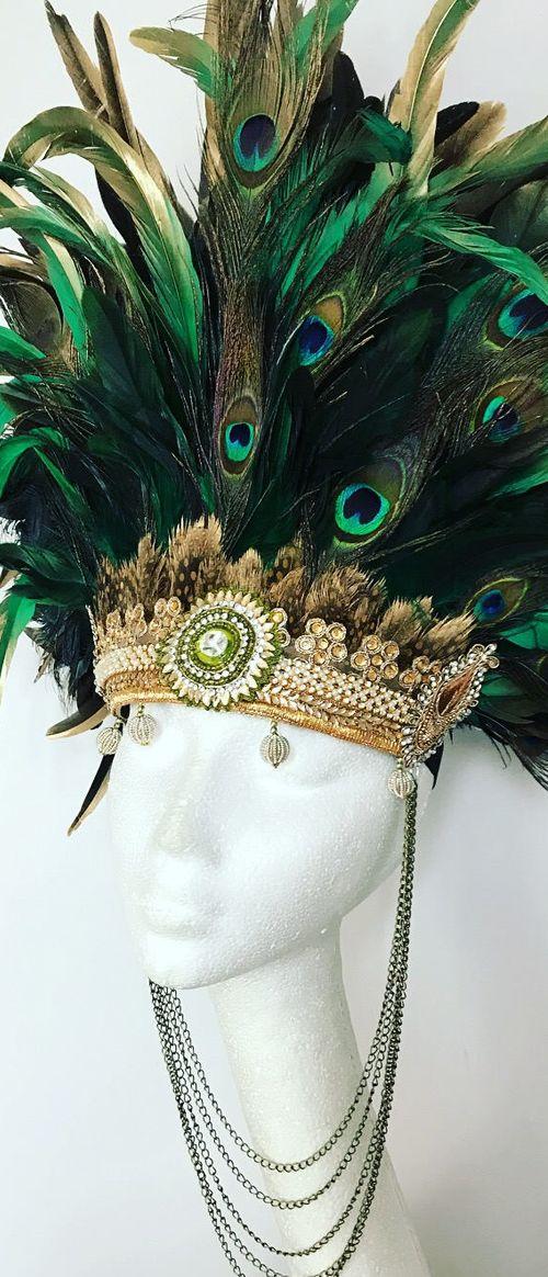 Blue green black feathered mardi gras mask burning man burlesque costume carnivale