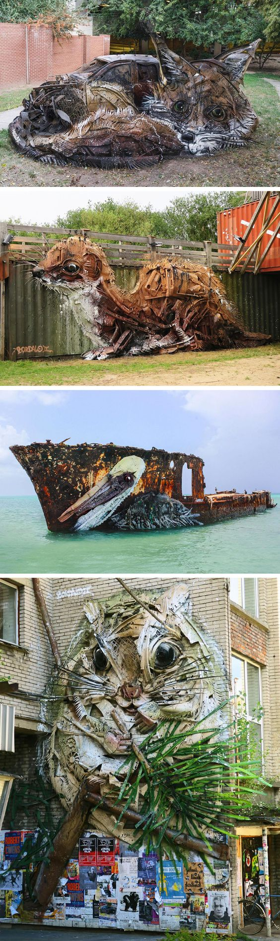 Trash Sculpures by Bordalo ll Spring up around the globe. Uncontrollable production of waste. From Colossal.