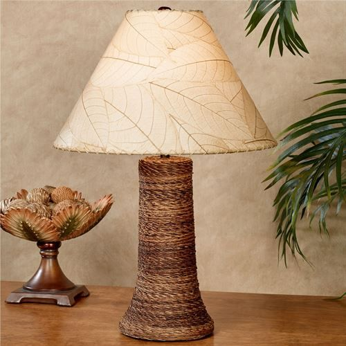 Loja Natural Cocoa Leaf Tropical Table Lamp Tropical Home Decor