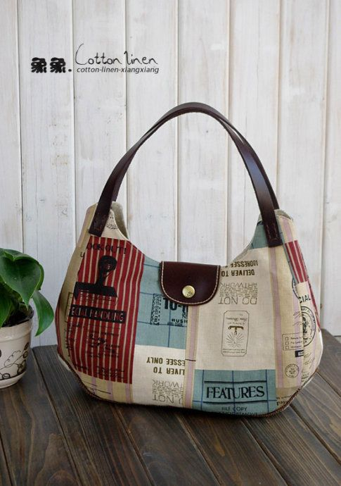 gotta translate this one to English but it is really cute...love the handle placement, tab closure, and fabric!