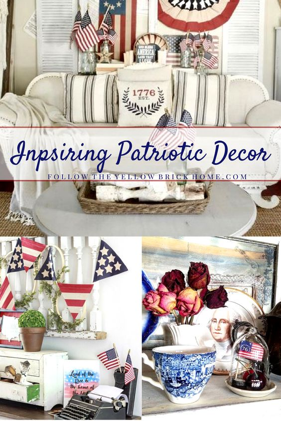Beautiful patrioitc decorating inspiration featuring farmhouse style, cottage style, and vintage patriotic decor. Red, white, and blue Fourth Of July decor