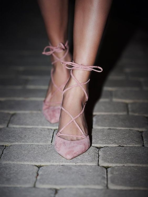 Free People Andra Kitten Heel by Jeffrey Campbell Ankle strap lace up heels with a pointed toe and a kitten heel.