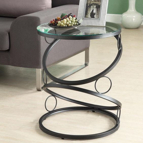 Modern round end table black metal glass side accent home furniture living room home Black glass side tables for living room
