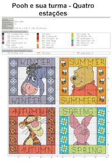 Cross stitch seasons Pooh characters (not a direct link, link not in English).