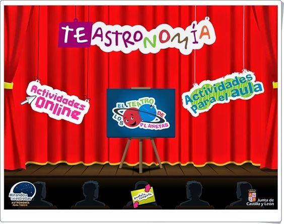 """""""TeAstronomía"""" es una aplicación de la Junta de Castilla y León en la que se encunetran juegos y materiales para el aula para la familiarización con el mundo del espacio, especialmente con el Sitema Solar."""