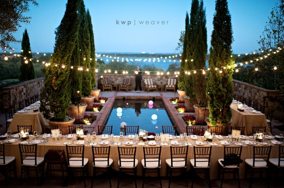 Swoon. Bella Collina near Orlando, FL. Not Tuscany. STUNNING. Banquet tables. Potted Cypress. String lights. Chiavari chairs. Twilight.: Outdoor Wedding, Rehearsal Dinner, Wedding Ideas, Cafe Lights, String Lights, Wedding Photo, Wedding Reception, Dream Wedding