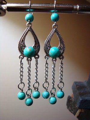Aqua teardrop earrings. $13.99