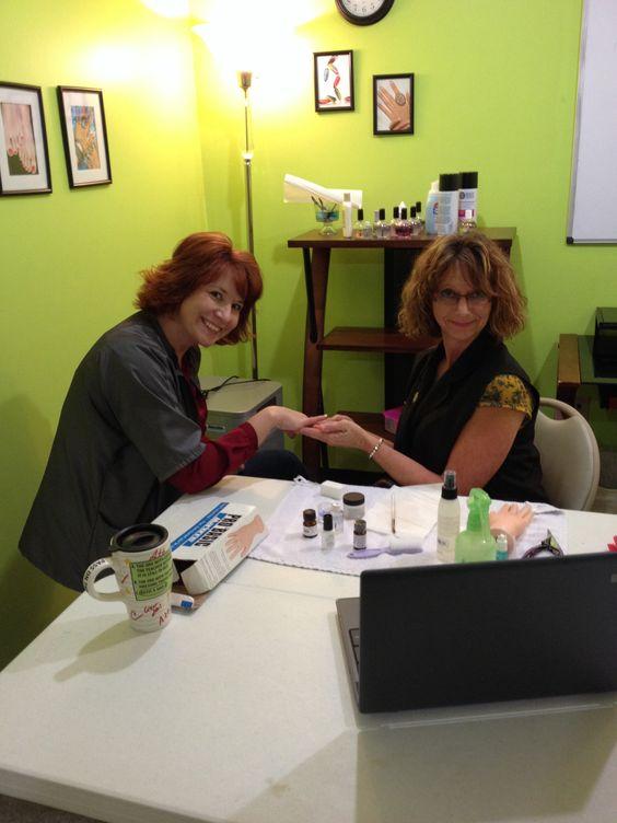 Crystal filing Melissa's nails!!