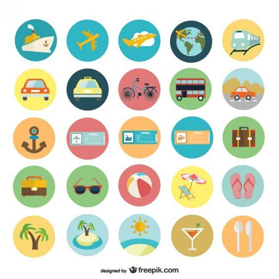 Iconos planos de vacaciones de verano Vector Gratis