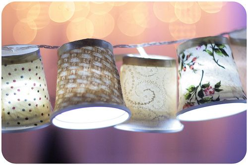 DIY - mini shades - string of lights - would LOVE around a craft room