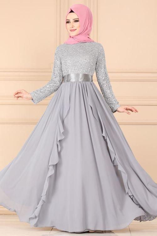 Modaselvim Abiye Firfirli Pul Payet Abiye Ech7307 Gumus Elbiseler Elbise Elbise Modelleri