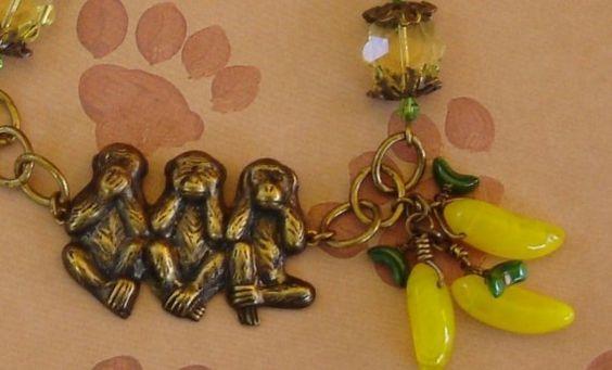 Patina Brass Swarovski Crystal Charm Bracelet Monkey by kcdwyer