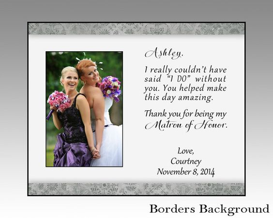 Matron of honor personalized picture frame, maid of honor photo frame