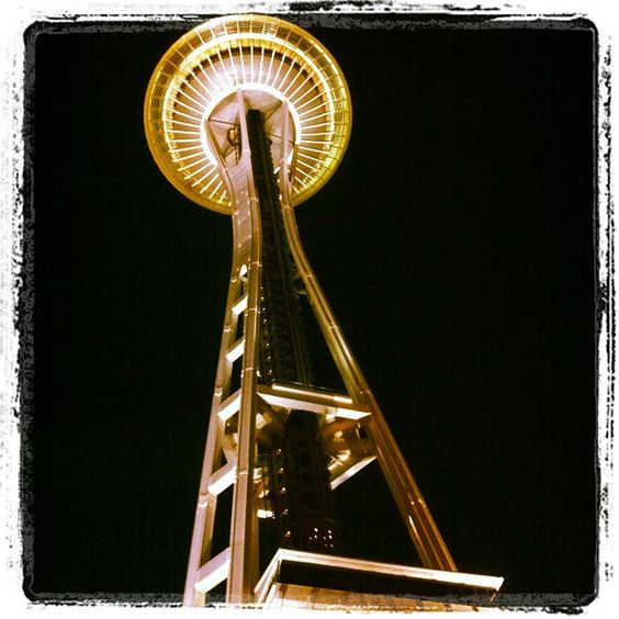 The Space Needle in the dark.