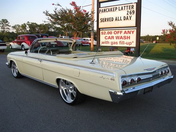 """1962 Chevy Impala SS """"ragtop"""" - my 3rd car. Mine was white with a red interior, 327 engine, 4 barrel carb with 2-speed automatic"""