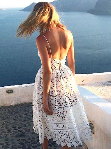 White Spaghetti Strap Crochet Lace Midi Dress: