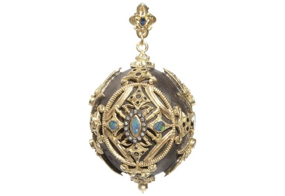 Midnight and yellow-gold large ball enhancer with opals, white diamonds, and black diamonds.