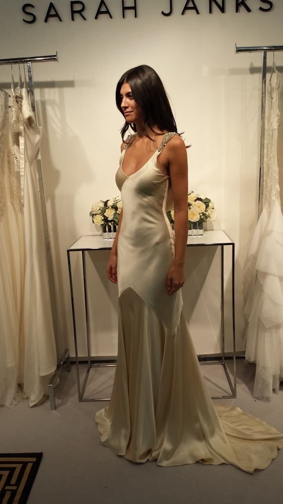 Bias-cut silk charmeuse is so divine...and glamorous! Sarah Janks Art Deco Wedding gown - Daxa: