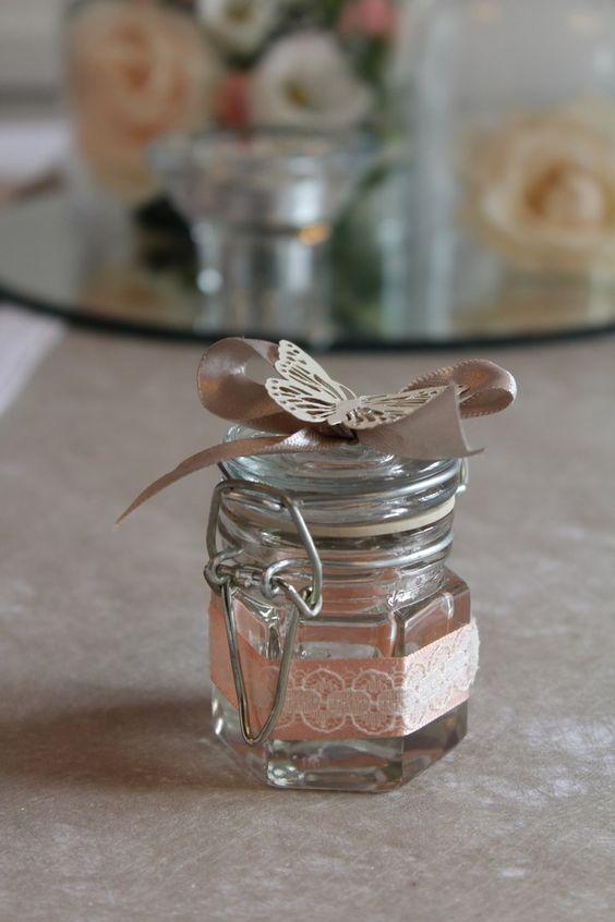 Contenant drag es pot confiture ruban satin et dentelle papillon blanc vintage - Pots a confiture ...