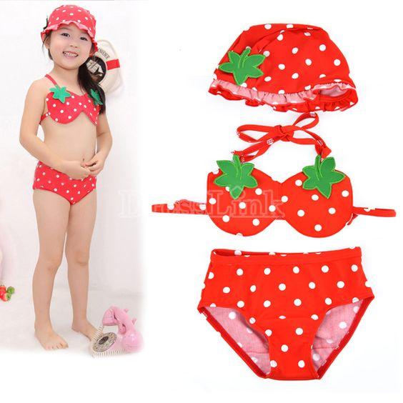 Kid's Girl's Strawberry Bikini Bathing Suit Swimwear With Swimming Cap
