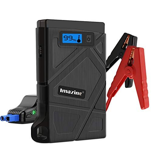 12V Auto Battery Booster Portable Power Pack with Smart Jumper Cables Imazing Portable Car Jump Starter 600A Peak Up to 3.5L Gas or 2L Diesel Engine